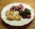Lammytterfilé med chevrefyllning och potatisgratäng